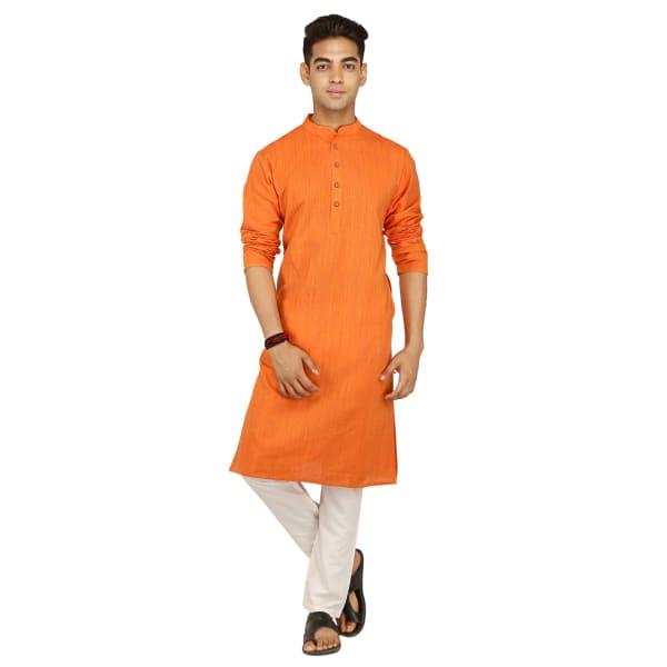 Orange Cotton Long Kurta For Men