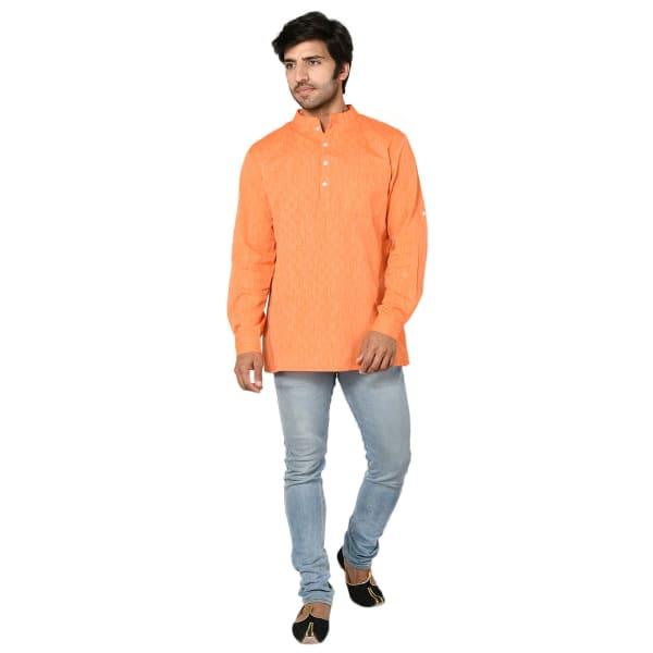 Orange Cotton Short Kurta For Men