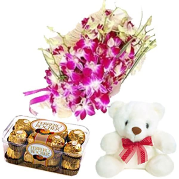 ORCHIDS AND FERRERO ROCHER 16 PCS WITH TEDDY