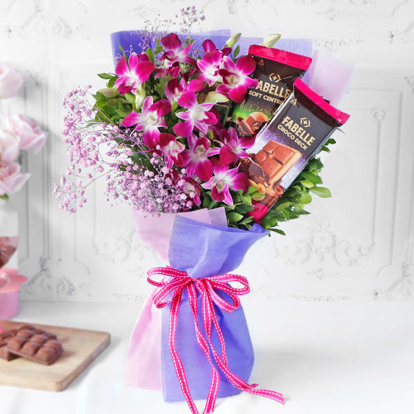 Orchids & Premium Fabelle Chocolate Bouquet
