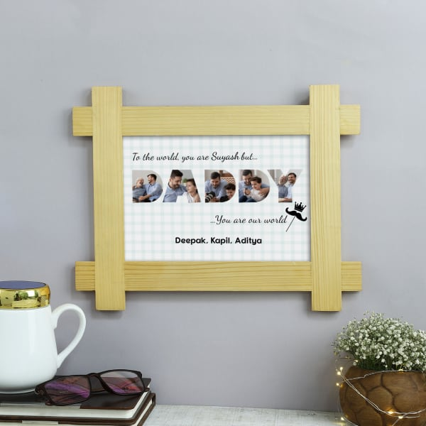 Our World Personalized Wooden Photo Frame For Daddy