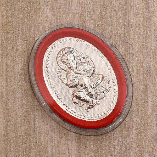 Oval Shape Silver Ganesha Foil