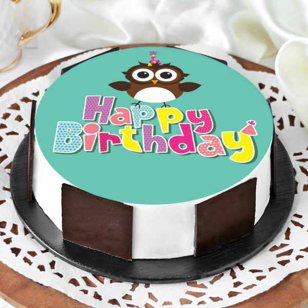 Order Owl Happy Birthday Cake Half Kg Online At Best Price Free Delivery Igp Cakes