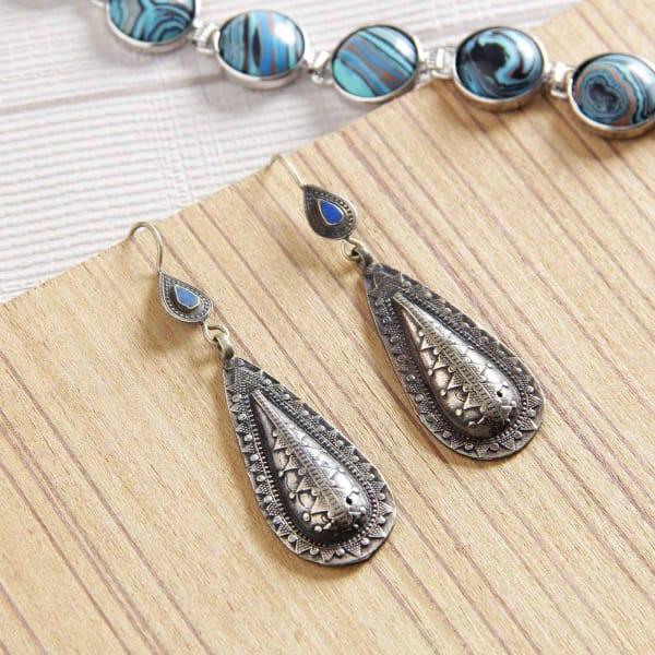 Oxidised Silver Hanging Earrings