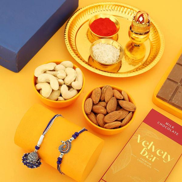 Oxidized Bhaiya Bhabhi Rakhi With Goodies And Pooja Thali