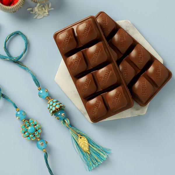 Pacchi Work Bhaiya Bhabhi Rakhi With Chocolates