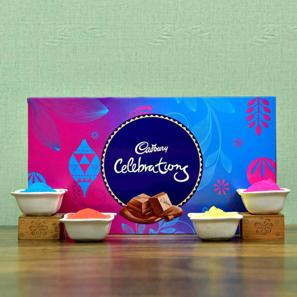 Packs of Colorful Gulal with Cadbury Celebration Pack