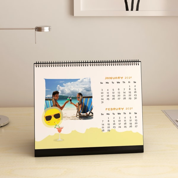 Party On Beach Personalized Desk Calendar: Gift/Send Home And