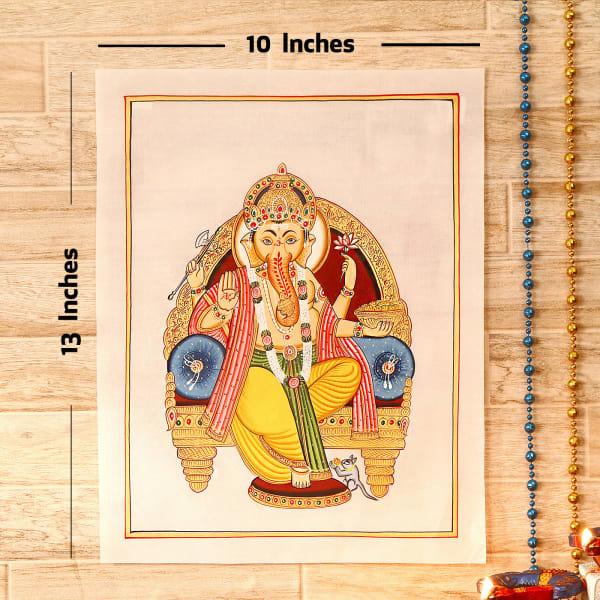 Parvati Nandan Gold Idol Silk Painting