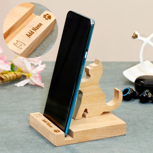 Pawing Cat Personalized Wood Mobile Stand
