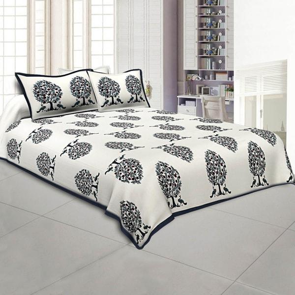 Peacock Block Print Bed Sheet Set