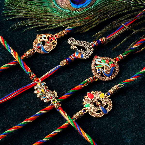 Peacock CZ And Meena Rakhi (Set of 5)