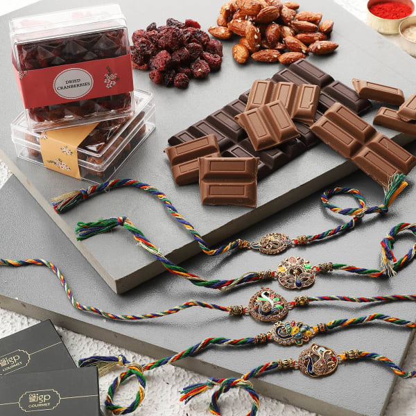 Peacock Rakhi Set Of 5 With Chocolates And Goodies