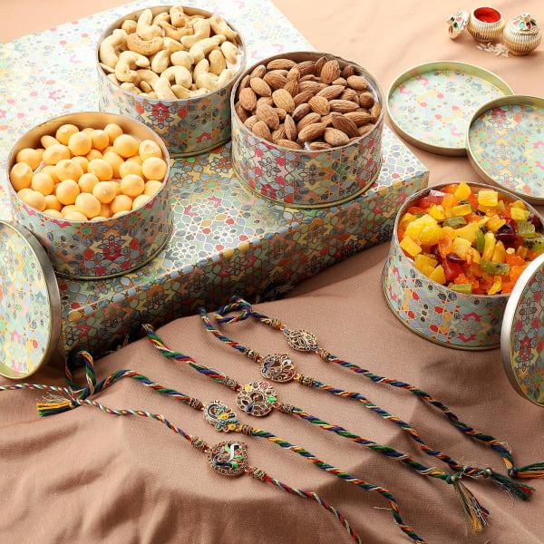 Peacock Rakhi Set Of 5 With Goodies Gift Box