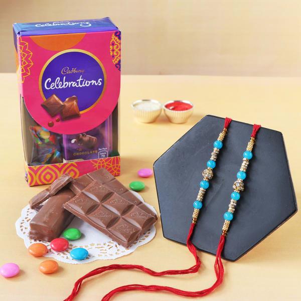 Pearl Rakhi Set Of 2 With Assorted Chocolates