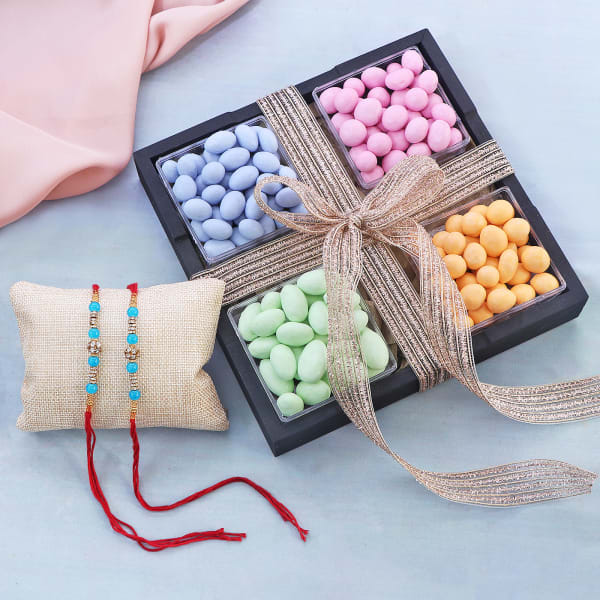 Pearl Rakhi Set Of 2 With Box Of Dragees