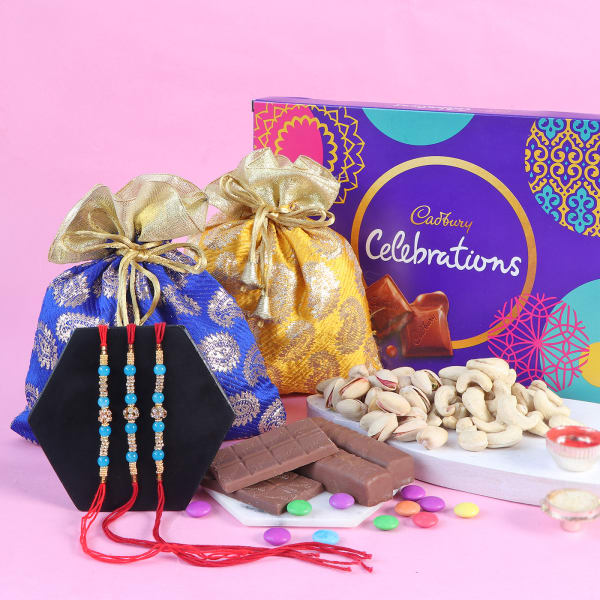 Pearl Rakhi Set Of 3 With Assorted Chocolates And Dry Fruits