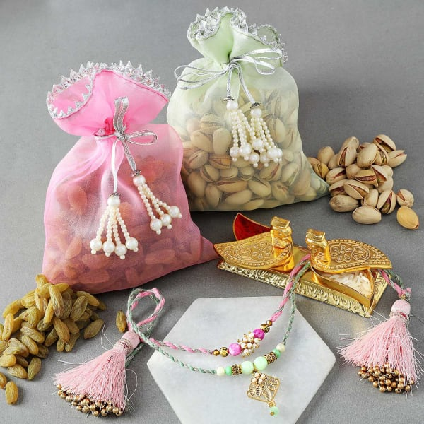Pearl Rakhis With Dry Fruits