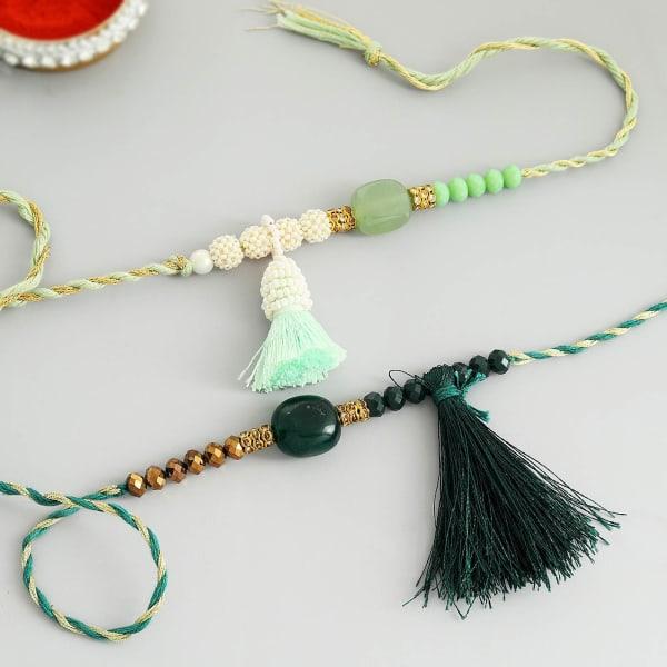 Pearls And Beads Tassel Rakhi (Set of 2)