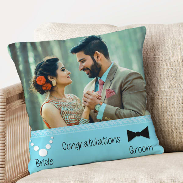 Pearls and Bow Personalized Anniversary Cushion