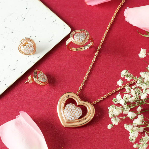 Pendant Set with Finger Ring in Rose Gold Finish