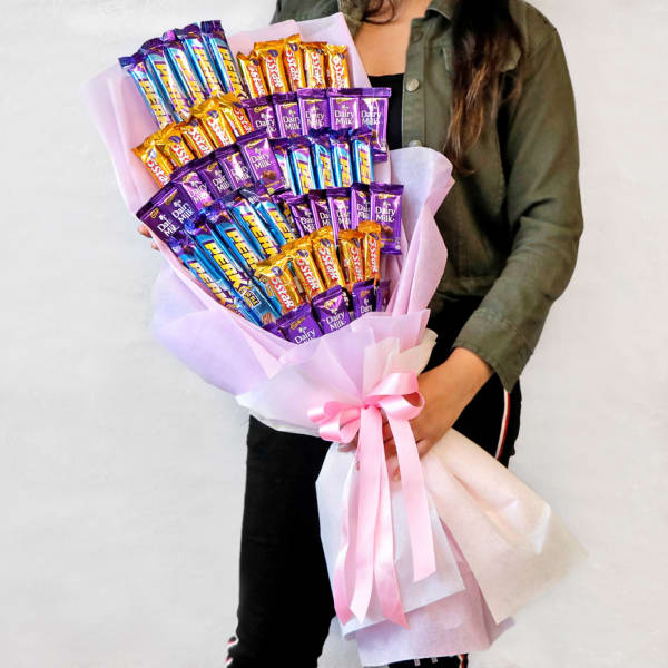 Perk & Five Star with Dairy Milk Chocolate Bouquet in Pink
