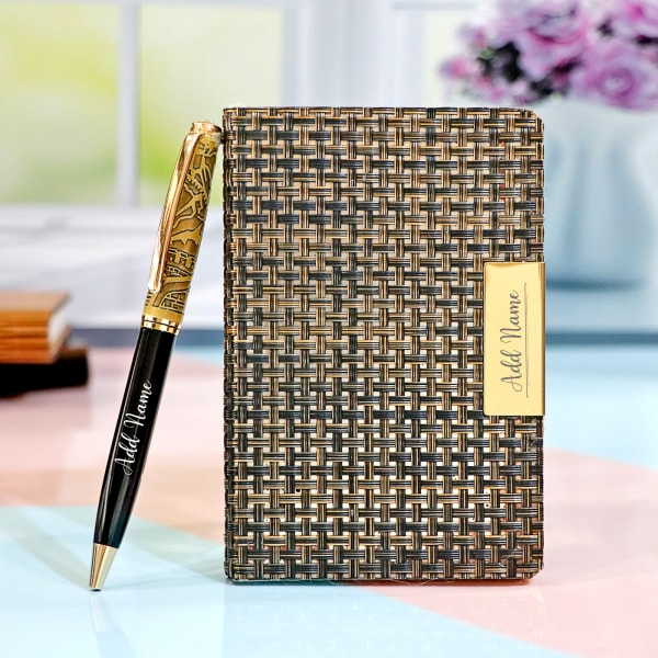 Personalised Antique Gold Finish Notebook and Pen