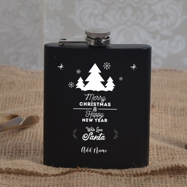 Personalised Christmas & New Year Themed Hip Flask