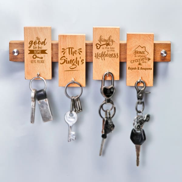 Personalised Family Themed Wooden Keyholder