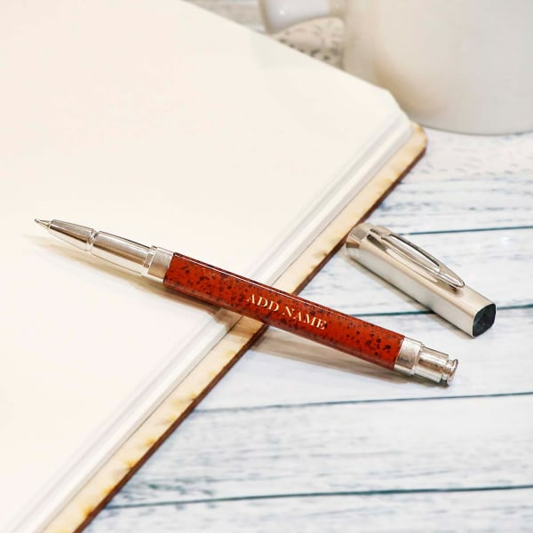 Personalised Pen with Brown Metallic Finish