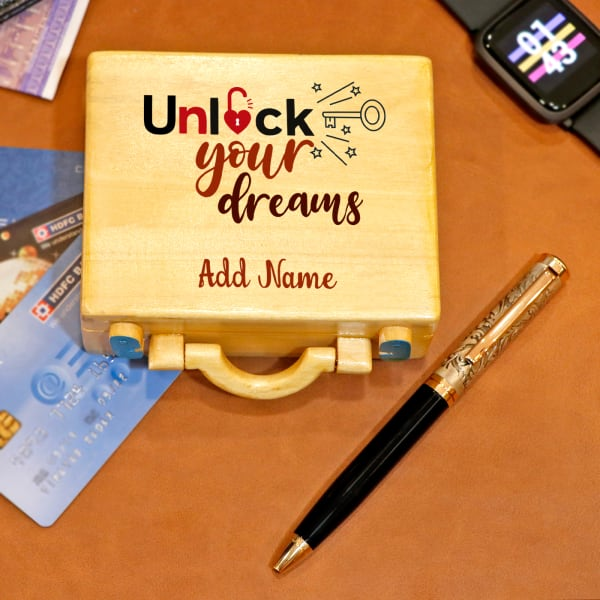 Personalised Suitcase Shaped Pen and Card Holder with Ball Pen
