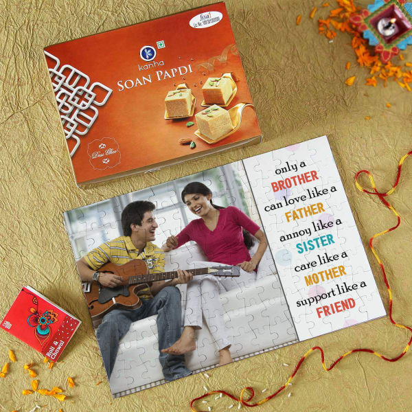 Personalized A4 Paper Puzzle with Soan Papdi