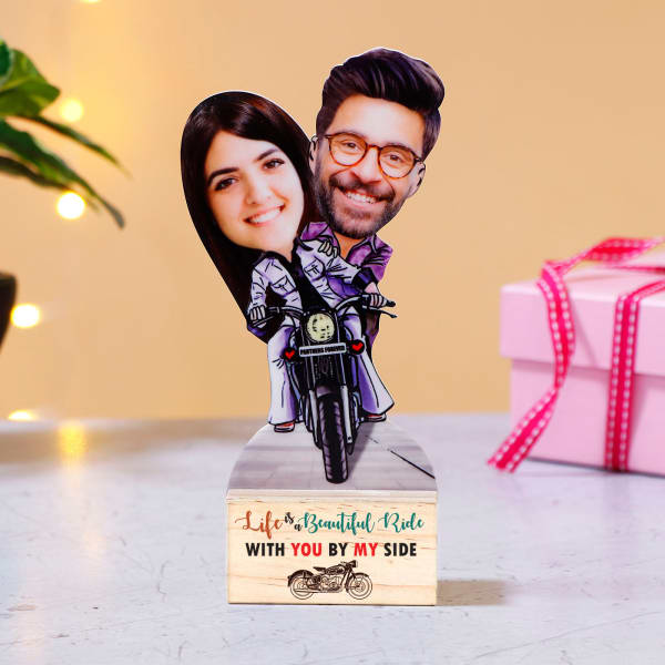 Personalized Adventure Ride Caricature with Wooden Stand
