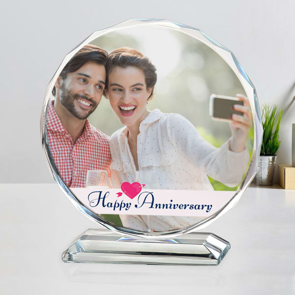 Personalized Anniversary Crystal Photo Stand