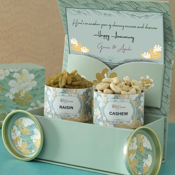 Personalized Anniversary Hamper With Dry Fruits in Gift Box