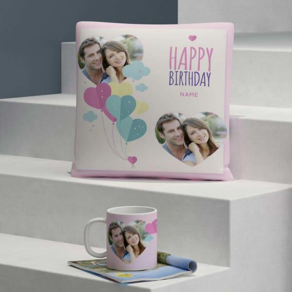 Personalized Birthday Cushion & Mug