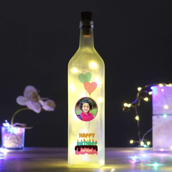 Personalized Birthday Frosted LED Bottle Lamp for Girls