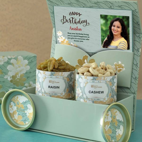 Personalized Birthday Hamper with Dry Fruits in Gift Box