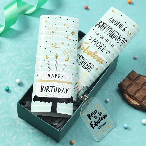 Personalized Birthday Key Chain and Chocolates
