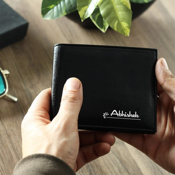 Personalized Black Leather Wallet for Men