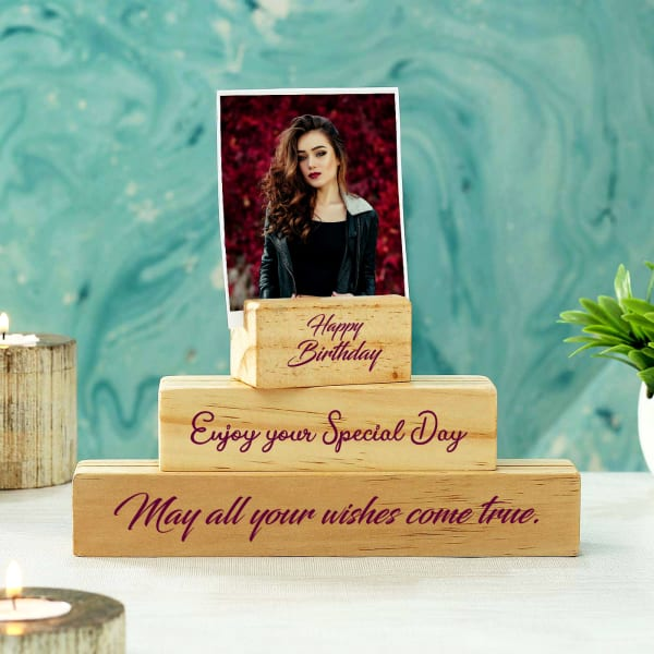Personalized Block Photo Frame for Birthday