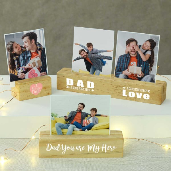 Personalized Block Photo Frames For Dad - Set of 4