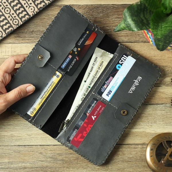 Personalized Block Printed Leather Long Wallet for Women