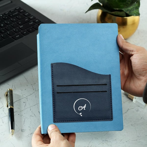 Personalized Blue Diary with Pocket Holder