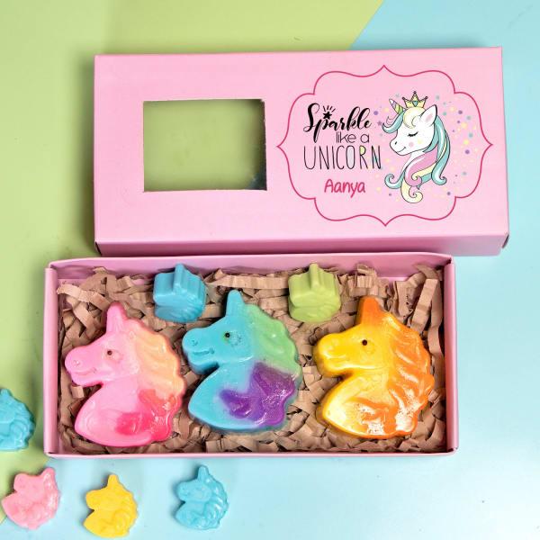 Personalized Box of Unicorn Soap Hamper