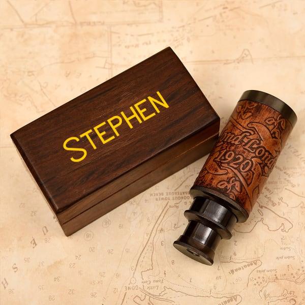 Personalized Brass Finish Telescope in Sheesham Wood Box