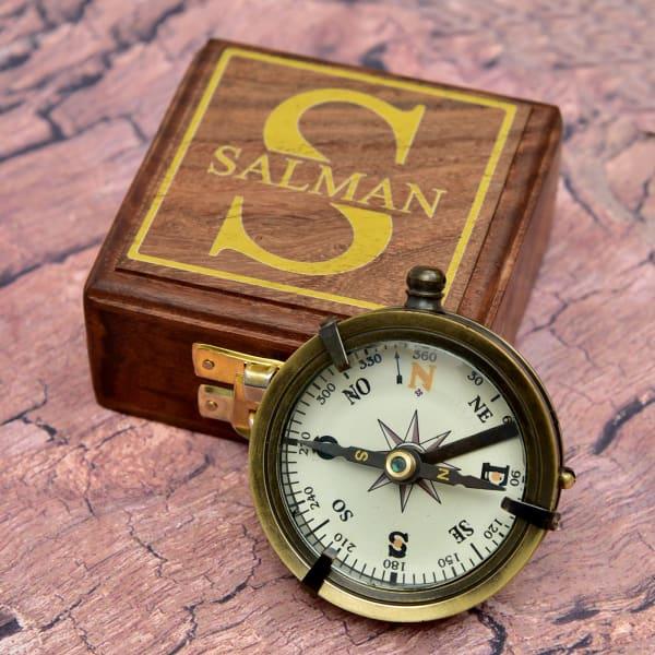 Personalized Brass Pocket Sundial Nautical Compass With Sheesham Wood Box
