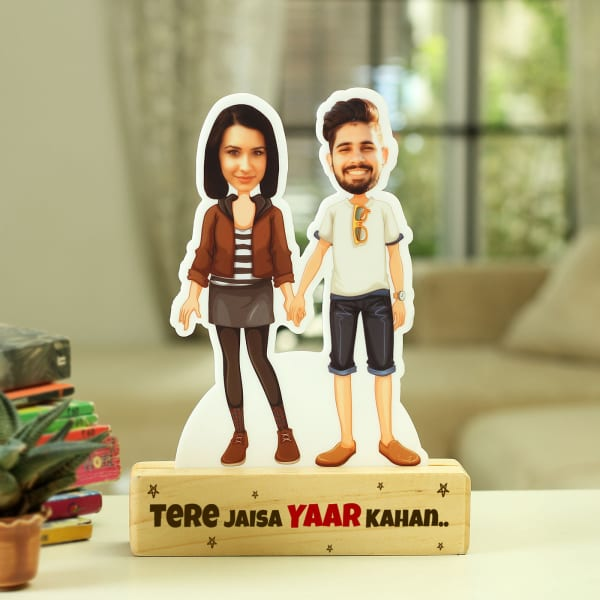 Personalized Caricature with Wooden Stand for Friends