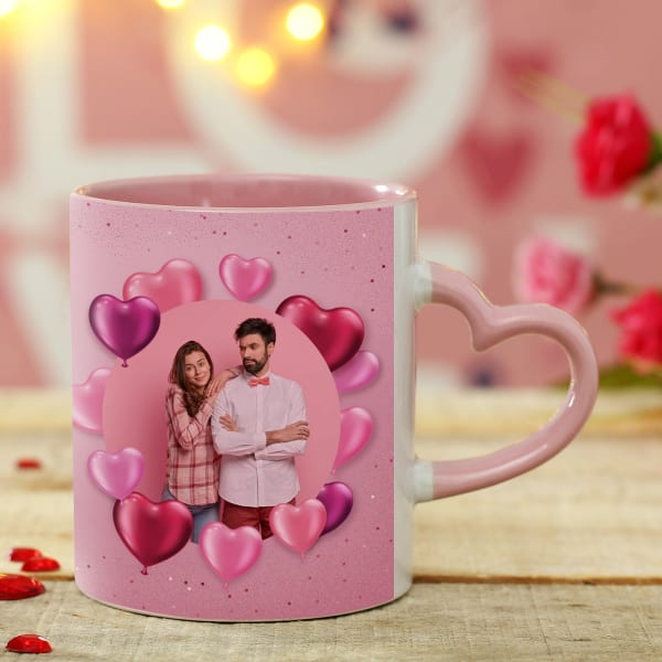 Personalized Ceramic Mug in Pink with Heart Handle