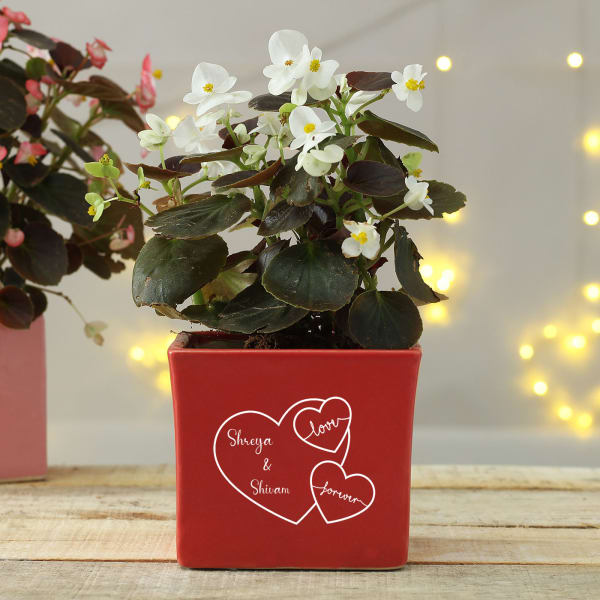 Personalized Ceramic Planter with Heart Motifs